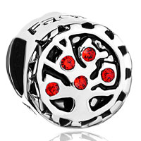 925 Sterling Silver Bright Red Crystal Tree Of Life Family Beads Charms Bracelet