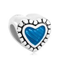 Sterling Silver Blue Heart Love Fits Beads Charms Bracelets Fit All Brands