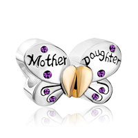 Purple Birthstones Mother Daughter Charms 925 Sterling Silver Butterfly Beads