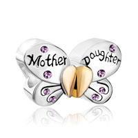 Light Purple Birthstones Mother Daughter Charms 925 Sterling Silver Butterfly Beads