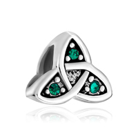 925 Sterling Silver Celtic Symbol Triquetra Green Crystal Beads Charms Bracelets Fit All Brands