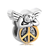 925 Sterling Silver Happy Sleeping Angel On Round Peace Symbol Euro Jewelry Gift Fits Beads Charms Bracelets Fit All Brands