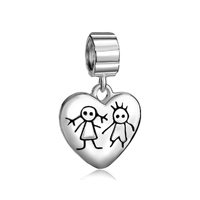 925 Sterling Silver Young Couple Heart Love Lover Fits Beads Charms Bracelets Fit All Brands