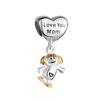 Mother Daughter Charms Heart Charms