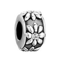 Silver Clear Crystal Floral European Bead Charm Charm Bracelet