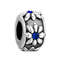 Silver Plated Blue Crystal Cz Flower Charms Bracelets Holiday Gift