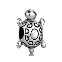 Silver Longevity Turtle European Infant Charm Bead Charms Bracelets