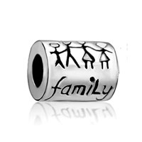 Silver P Family Life Love Cylinder For Beads Charms Bracelets Fit All Brands