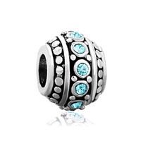 March Birthstone Aquamarine Blue Cz European Bead Charms Bracelets