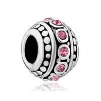 Light Pink Stripe Swarovski Crystal European Bead Charms Bracelets