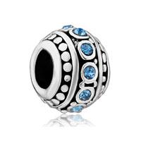 Silver Plated Bling Swarovski Crystal European Bead Charm Bracelets