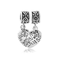 Silver Big Sister Charm Bracelet Heart Dangle European Bead Charms