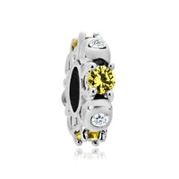 Silver Plated Topaz Yellow White Crystal Diamond Accent Charm Spacer