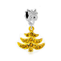 Silver Plated Golden Xmas Tree Dangle European Bead Charm Bracelets