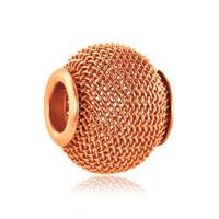 Silver Orange Yellow Crochet Charm Bracelet Spacer European Bead