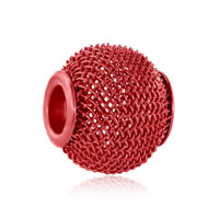 Silver Red Crochet Charm Bracelet Spacer European Infant Charm Bead
