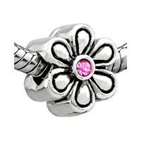 Big Flower October Birthstone Fit Beads Charms Bracelets All Brands