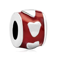Red Enamel Spacer Heart For Love Beads Charms Bracelets Fit All Brands