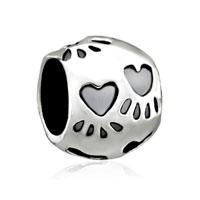 Silver Dog Charm Bracelet Paw Print European Infant Charm Bead