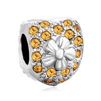Silver Plated Heart Flower Charm Bracelets November Birthstone Love