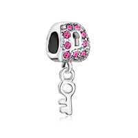 Silver Lock Dangle Key Pink Crystal European Bead Charms Bracelets