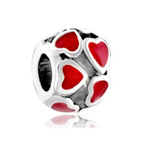 Red Heart Charm Bracelet January Birthstone Love Charmcharm Bracelet