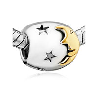 Silver Plated Starry Moonlight Night European Bead Charms Bracelets