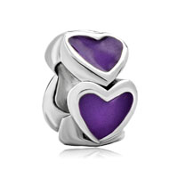 Silver Purple Heart Charm Bracelet European Infant Charm Beadcharms