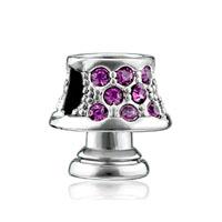 Silver Plated Lamp February Birthstone European Bead Charm Bracelets