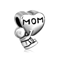 Mother Daughter Charms Heart Beads