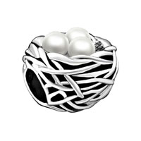 Silver Plated Pearl Charm Bracelet Nest Gorgeous European Bead