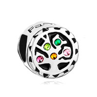 Silver P Colorful Crystal Tree Of Life Family Beads Charms Bracelets Fit All Brands