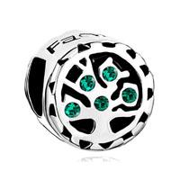 Emerald Green Swarovski Family Tree Of Life Bead Charm Bracelet