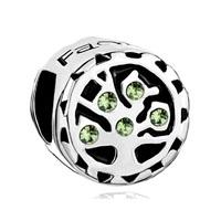 Peridot Green Swarovski Family Tree Of Life Bead Charm Bracelet