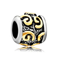 Pugster Golden Letter For Initial G Classic Alphabet Two Tone Plated Beads Charms Bracelets Fit All Brands
