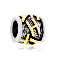Golden Letter Bracelet Charms Initial H Classic Alphabet Beads