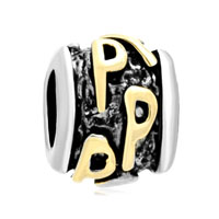 Golden Letter Initial P Classic Alphabet Beads Charms Bracelets Fit All Brands