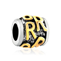 Golden Letter Initial R Classic Alphabet Fit Two Tone Plated Beads Charms Bracelets All Brands