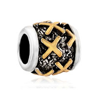Golden Letter Initial X Classic Alphabet Fit Two Tone Plated Beads Charms Bracelets All Brands