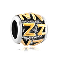 Golden Letter Bracelet Charms Initial Z Classic Alphabet Beads