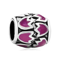 Pink Floral European Bead Charms Charms Braceletss Enamel Pattern