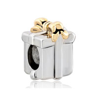 Silver Gold Bowknot Box European Infant Charm Bead Charms Bracelets