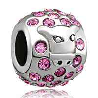 Silver Plated Pink Sapphire Bull European Bead Charms Bracelets