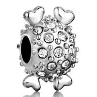 Silver Clear Crystal Ball Heart Charm Bracelet Charm European Bead