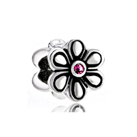 Birthstone Charms Flower Rose October Birthstone 925 Sterling Silver Beads Fits Charms Bracelet