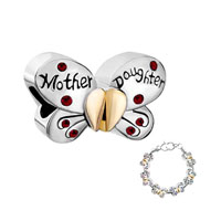 Heart Butterfly Mother Daughter Charms