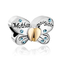 Mother Daughter Charms Butterfly Swarovski