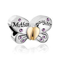 Mother Daughter Charms Swarovski Butterfly