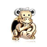22k Golden Monkey Holding Heart Charm Bracelet Love Bowknot Head Beads