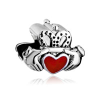 Silver Irish Charm Bracelet Claddagh Friendship And Heart Red Love